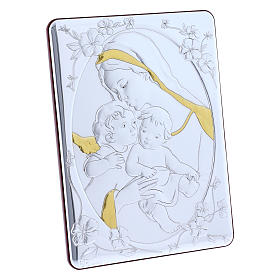 Our Lady with Baby Jesus and Angel painting finished in gold, made of laminboard with refined wooden back 21,6X16,3 cm s2