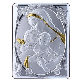 Our Lady with Baby Jesus and Angel painting finished in gold, made of laminboard with refined wooden back 21,6X16,3 cm s4