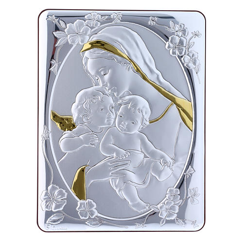 Our Lady with Baby Jesus and Angel painting finished in gold, made of laminboard with refined wooden back 21,6X16,3 cm 1