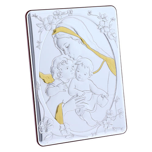 Our Lady with Baby Jesus and Angel painting finished in gold, made of laminboard with refined wooden back 21,6X16,3 cm 2