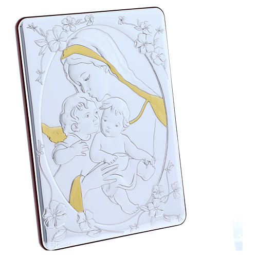 Our Lady with Baby Jesus and Angel painting finished in gold, made of laminboard with refined wooden back 21,6X16,3 cm 5