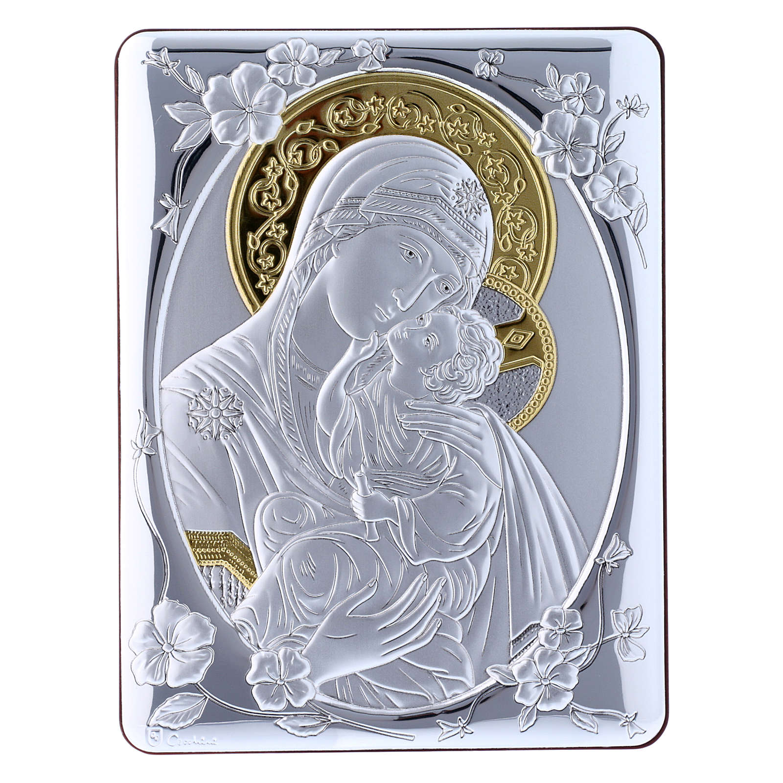 Quadro bilaminato retro legno pregiato rifiniture oro Madonna Tenerezza 21,6X16,3 cm 4