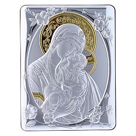 Quadro bilaminato retro legno pregiato rifiniture oro Madonna Tenerezza 21,6X16,3 cm s1