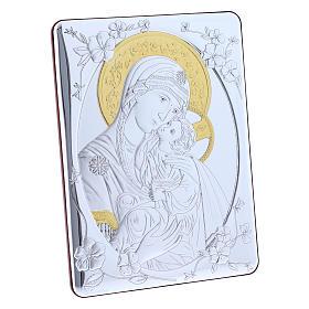 Quadro bilaminato retro legno pregiato rifiniture oro Madonna Tenerezza 21,6X16,3 cm s2