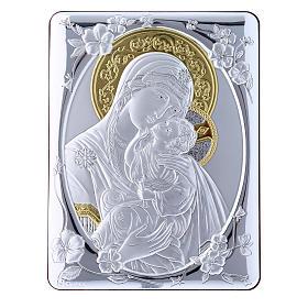 Quadro bilaminato retro legno pregiato rifiniture oro Madonna Tenerezza 21,6X16,3 cm s4