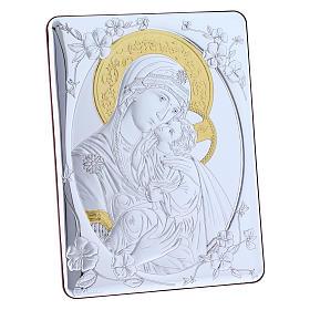 Quadro bilaminato retro legno pregiato rifiniture oro Madonna Tenerezza 21,6X16,3 cm s5