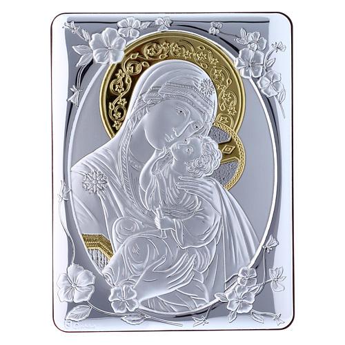 Quadro bilaminato retro legno pregiato rifiniture oro Madonna Tenerezza 21,6X16,3 cm 1