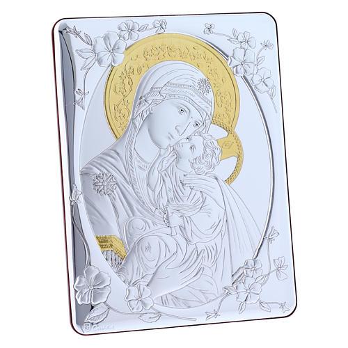 Quadro bilaminato retro legno pregiato rifiniture oro Madonna Tenerezza 21,6X16,3 cm 5