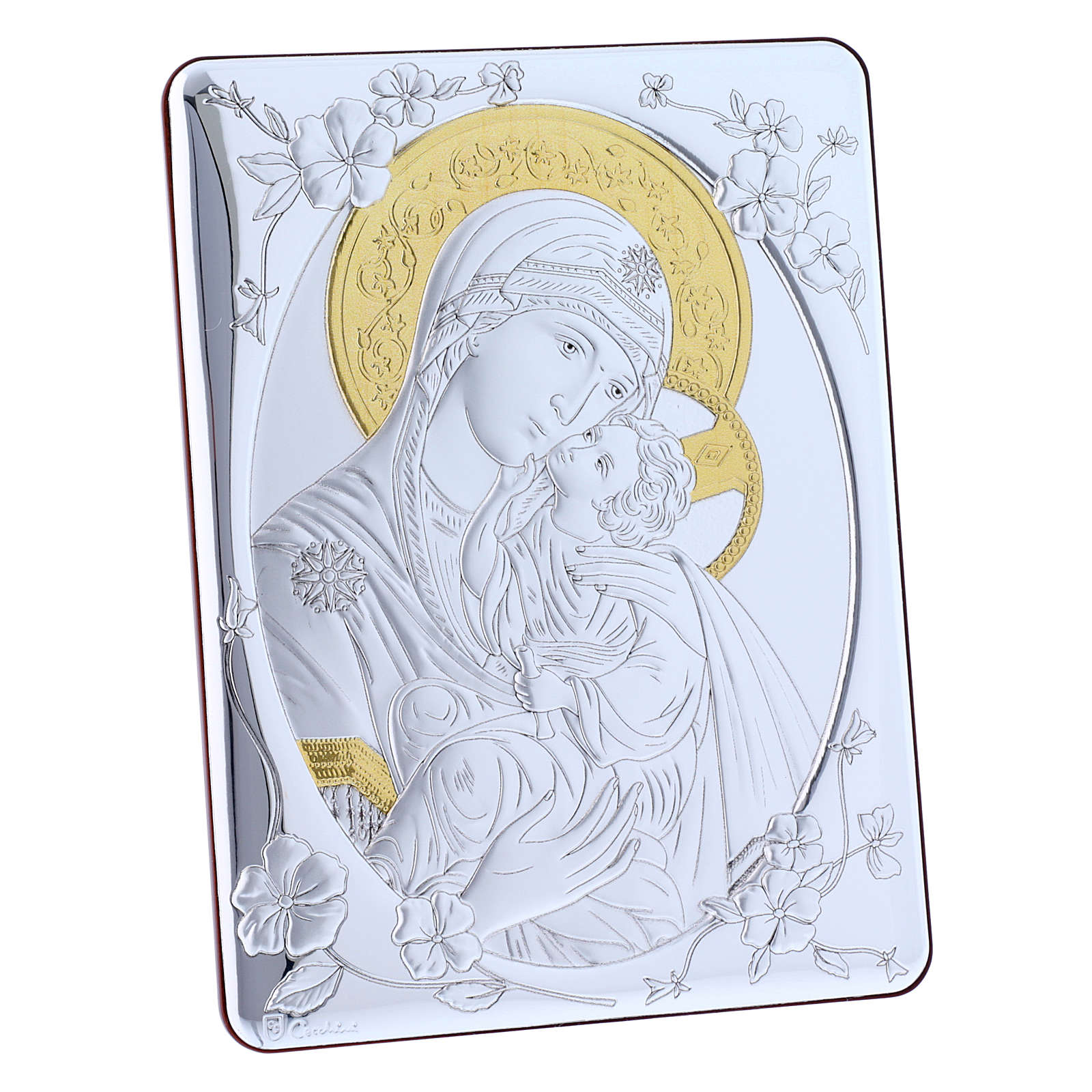 Our Lady of Vladimir painting finished in gold, made of laminboard with refined wooden back 21,6X16,3 cm 4