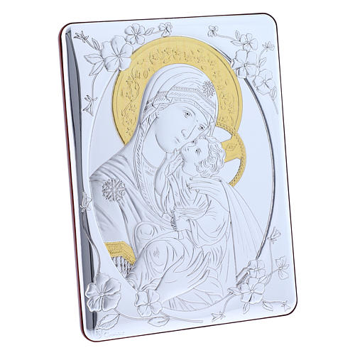 Our Lady of Vladimir painting finished in gold, made of laminboard with refined wooden back 21,6X16,3 cm 2