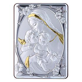 Quadro Madonna Gesù e Angelo bilaminato retro legno pregiato rifiniture oro 14X10 cm s1
