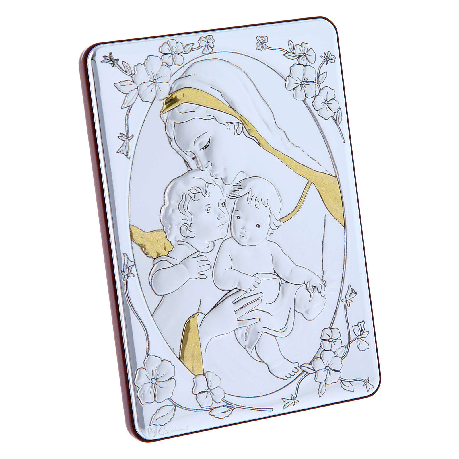 Our Lady with Baby Jesus and Angel painting finished in gold, made of laminboard with refined wooden back 14x10 cm 4
