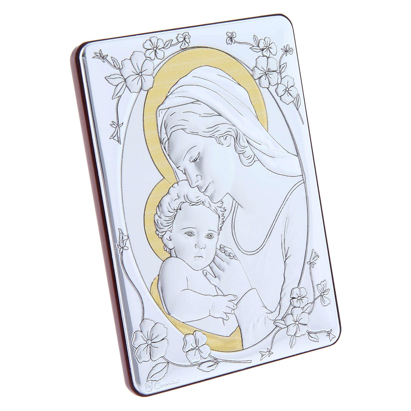 Quadro Madonna Gesù bilaminato retro legno pregiato rifiniture oro 14X10 cm 4