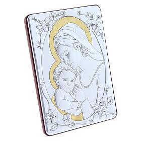 Quadro Madonna Gesù bilaminato retro legno pregiato rifiniture oro 14X10 cm s2