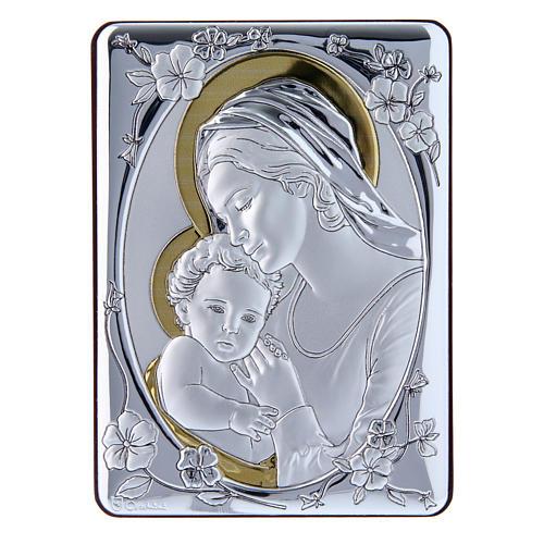 Quadro Madonna Gesù bilaminato retro legno pregiato rifiniture oro 14X10 cm 1