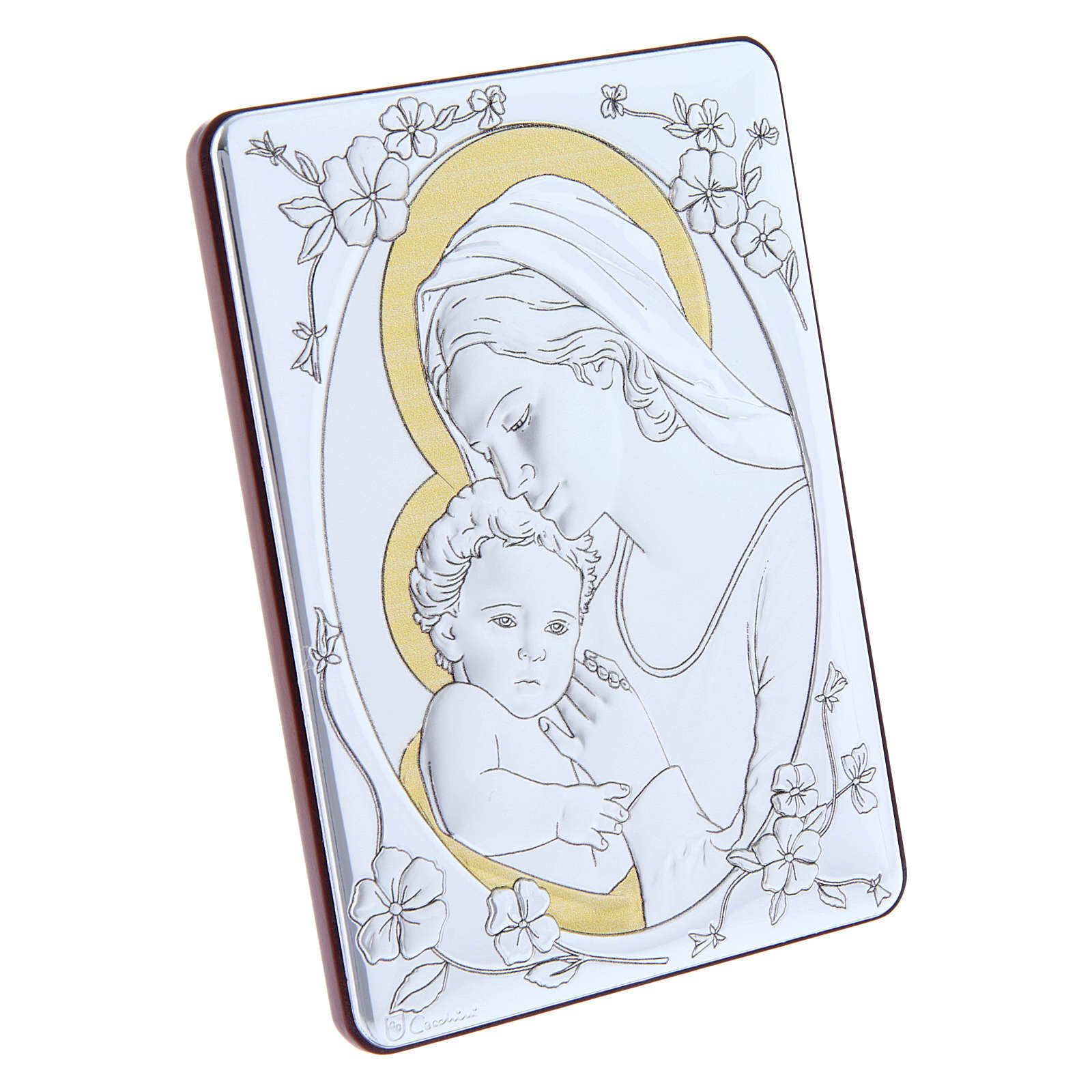 Our Lady with Baby Jesus painting finished in gold, made of laminboard with refined wooden back 14x10 cm 4