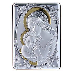 Our Lady with Baby Jesus painting finished in gold, made of laminboard with refined wooden back 14x10 cm s1