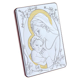 Our Lady with Baby Jesus painting finished in gold, made of laminboard with refined wooden back 14x10 cm s2