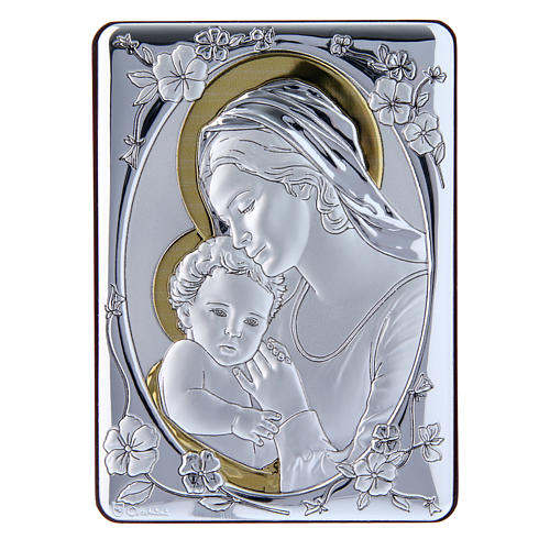 Our Lady with Baby Jesus painting finished in gold, made of laminboard with refined wooden back 14x10 cm 1