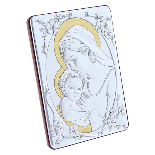 Our Lady with Baby Jesus painting finished in gold, made of laminboard with refined wooden back 14x10 cm 2