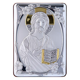 Christ Pantocrator painting in laminboard finished in gold and refined wooden back 14X10 cm s1