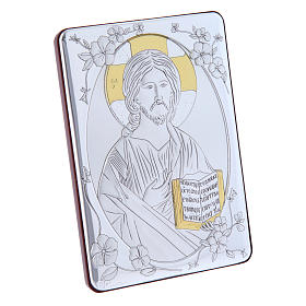Christ Pantocrator painting in laminboard finished in gold and refined wooden back 14X10 cm s2