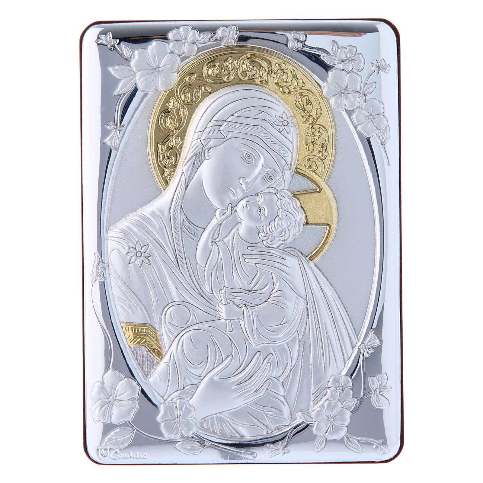 Quadro Madonna della Tenerezza bilaminato retro legno pregiato rifiniture oro 14X10 cm 4