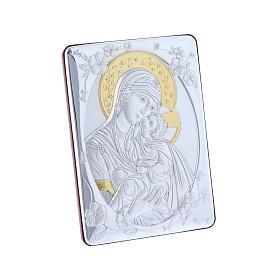 Quadro Madonna della Tenerezza bilaminato retro legno pregiato rifiniture oro 14X10 cm s2