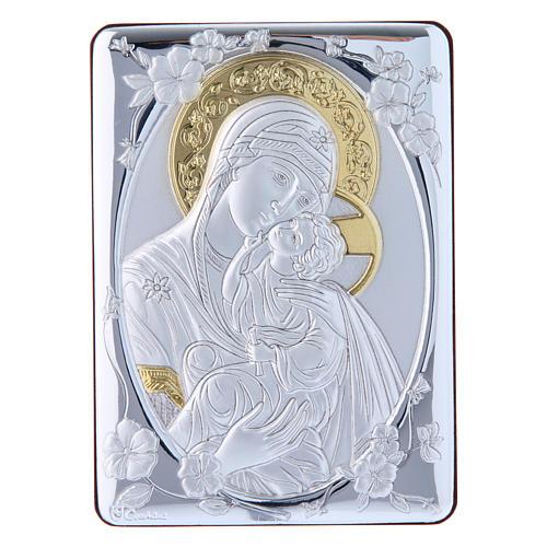 Quadro Madonna della Tenerezza bilaminato retro legno pregiato rifiniture oro 14X10 cm 1