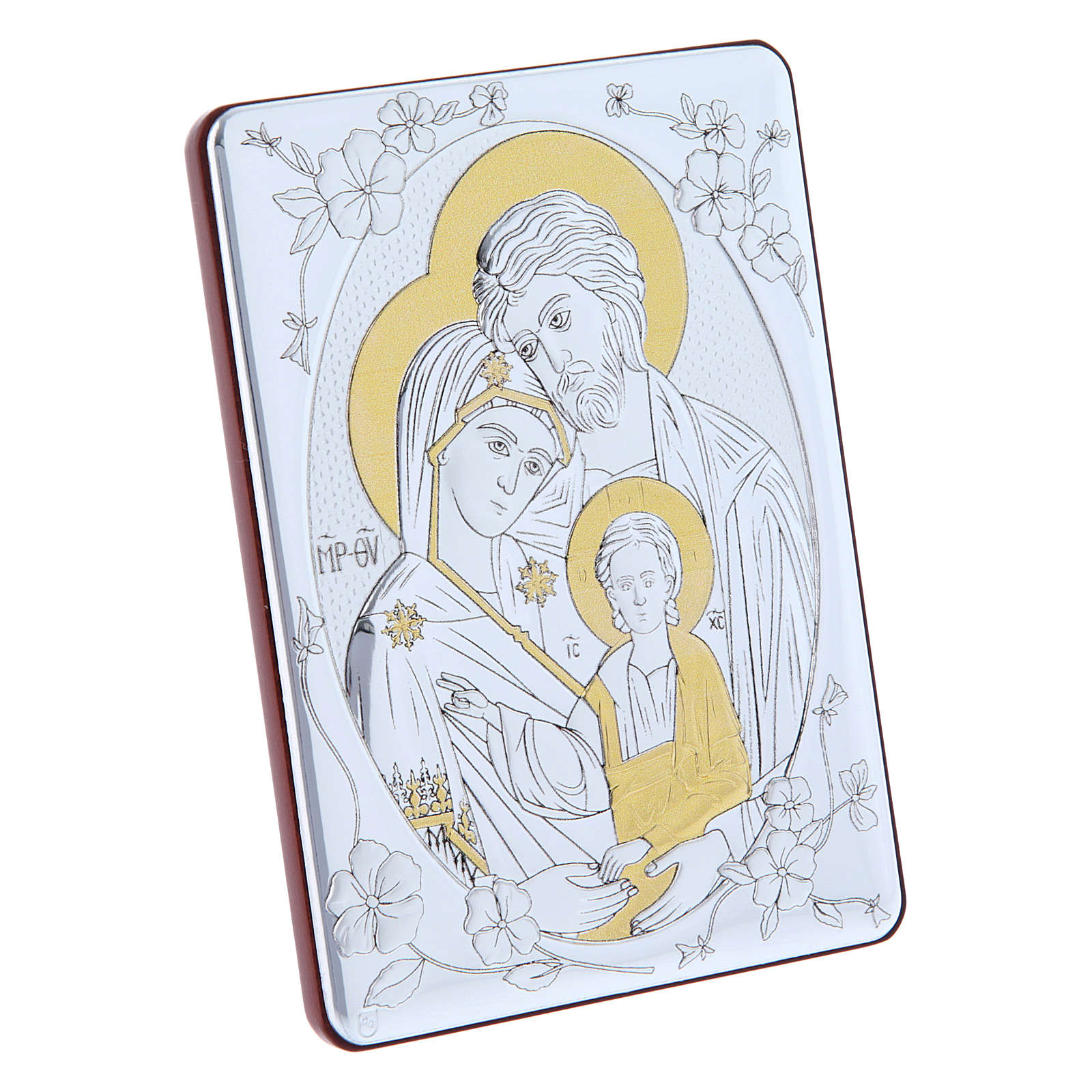 Orthodox Holy Family painting in laminboard finished in gold and refined wooden back 14X10 cm 4