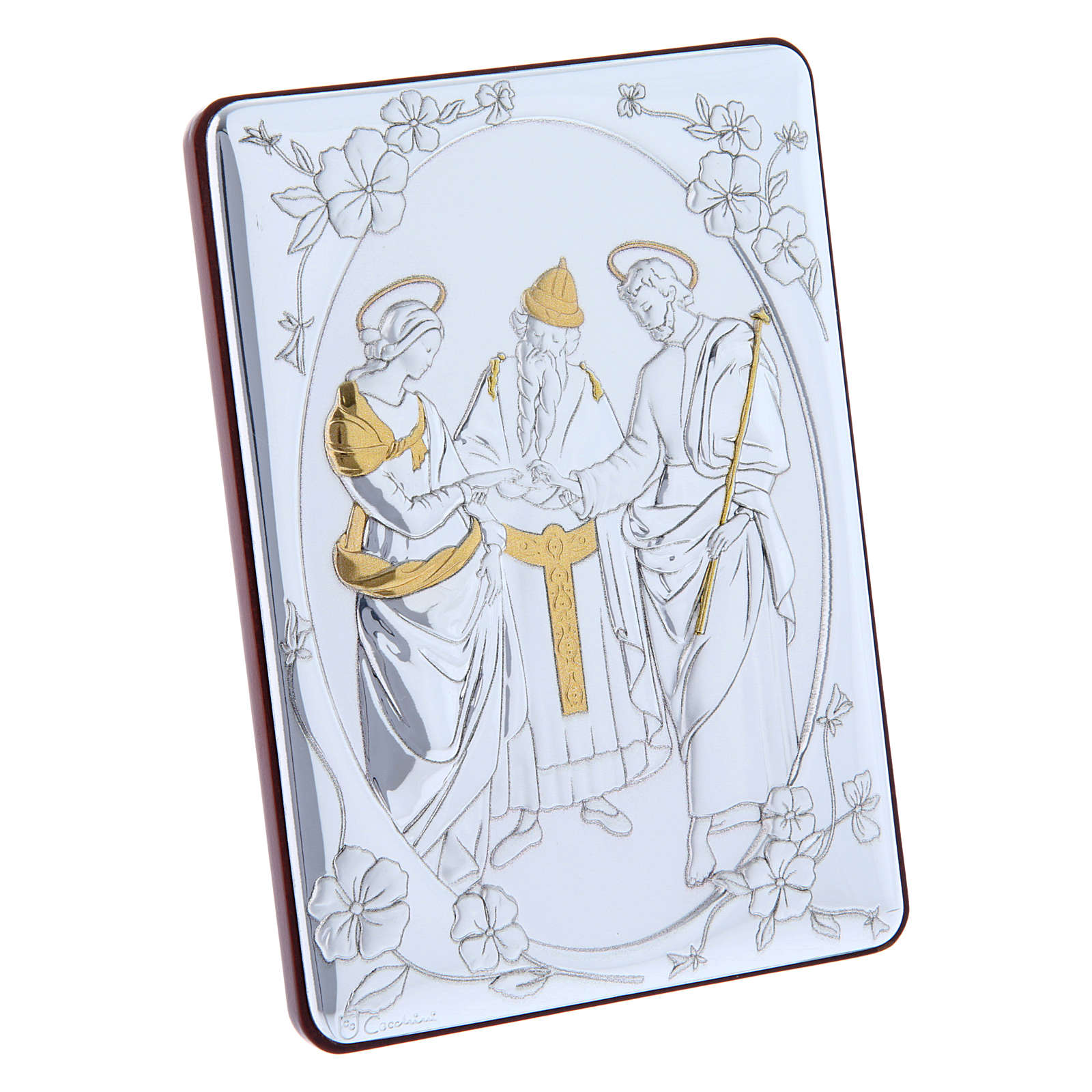 The Marriage of the Virgin painting in laminboard finished in gold and refined wooden back 14X10 cm 4