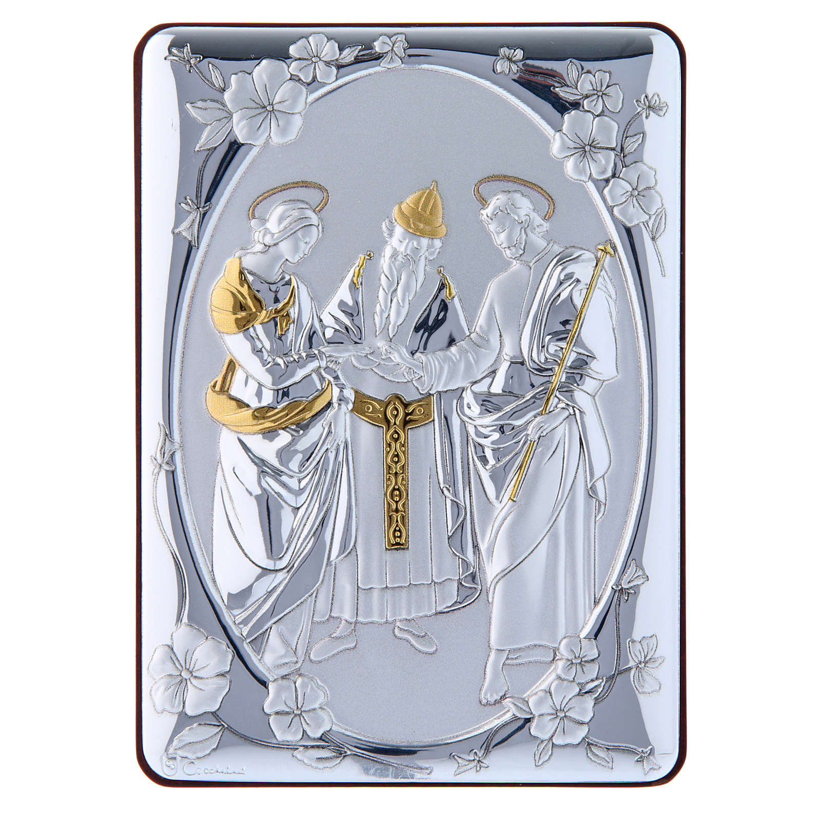 Cuadro Boda Virgen bilaminado parte posterior madera preciosa detalles oro 14x10 cm 4