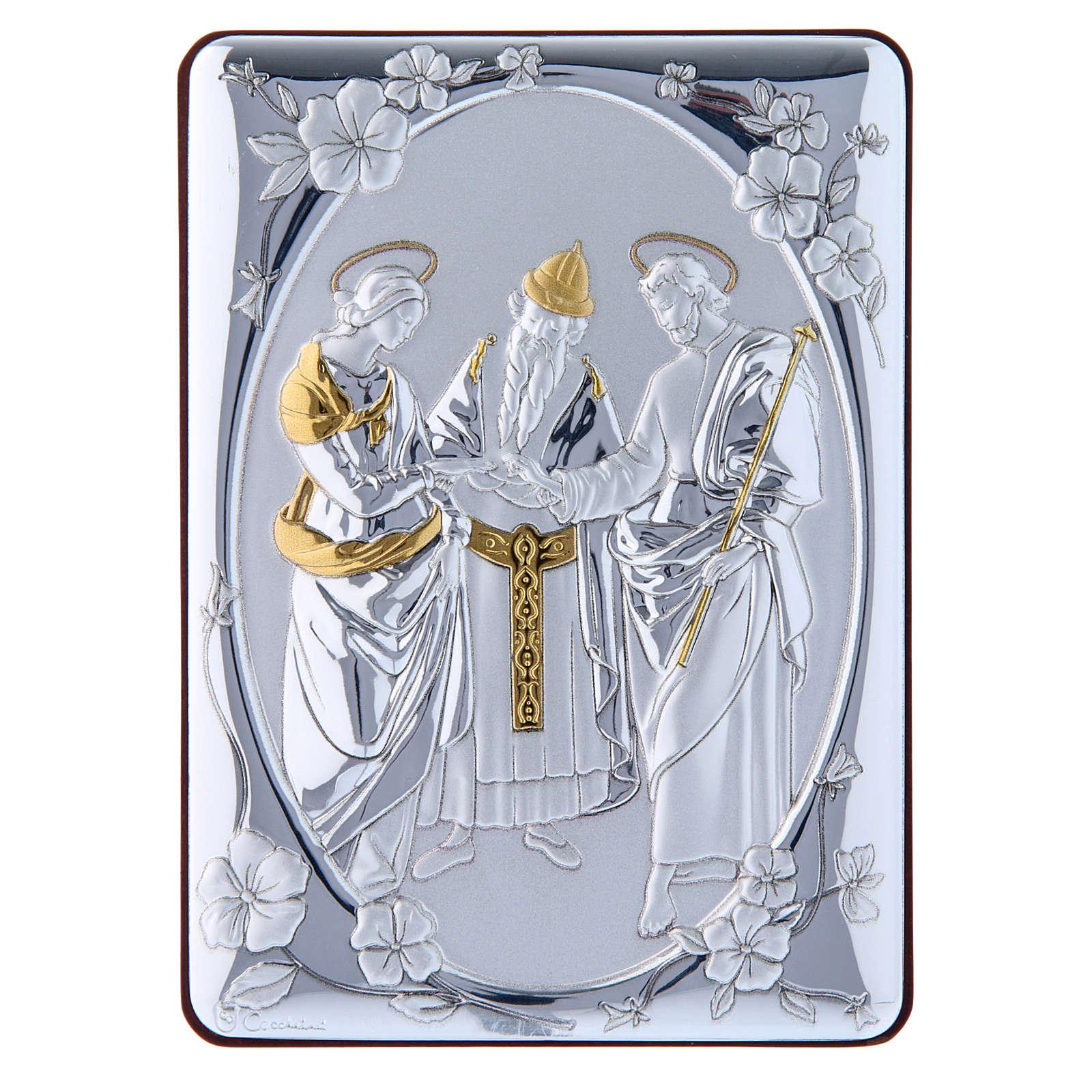 Quadro Matrimonio Vergine bilaminato retro legno pregiato rifiniture oro 14X10 cm 4