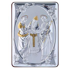 Quadro Matrimonio Vergine bilaminato retro legno pregiato rifiniture oro 14X10 cm s1