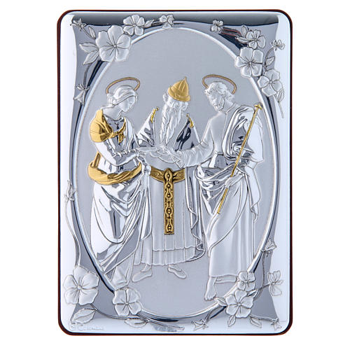 Quadro Matrimonio Vergine bilaminato retro legno pregiato rifiniture oro 14X10 cm 1