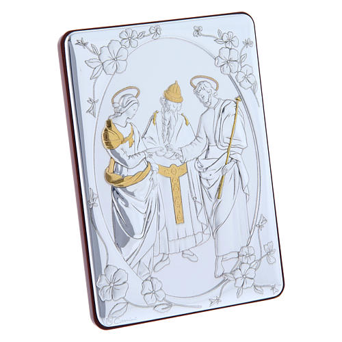The Marriage of the Virgin painting in laminboard finished in gold and refined wooden back 14X10 cm 2