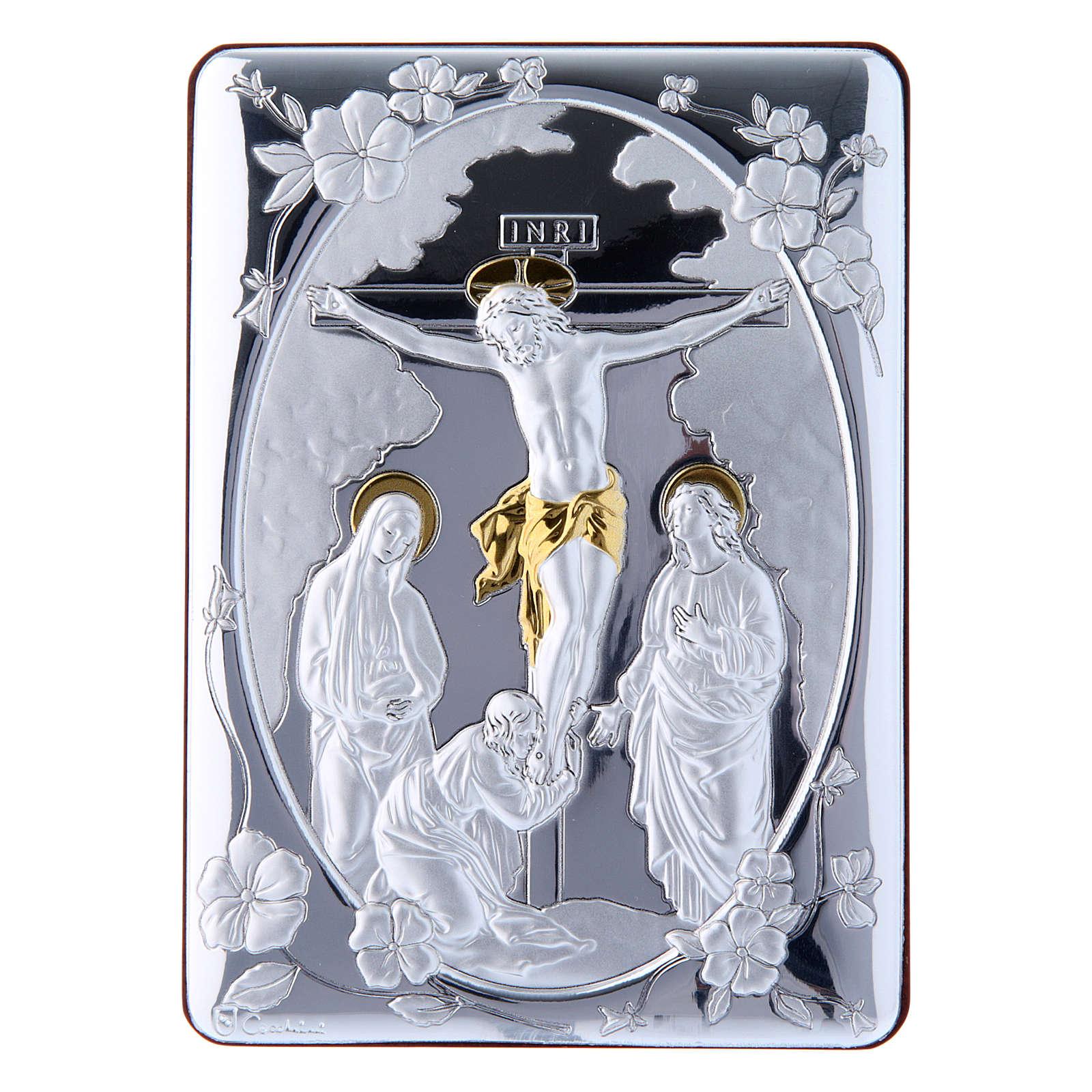Cuadro Crucifixión detalles oro bilaminado parte posterior madera preciosa 14x10 cm 4