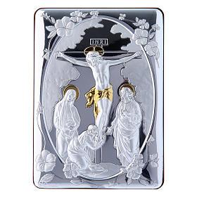 Cuadro Crucifixión detalles oro bilaminado parte posterior madera preciosa 14x10 cm s1