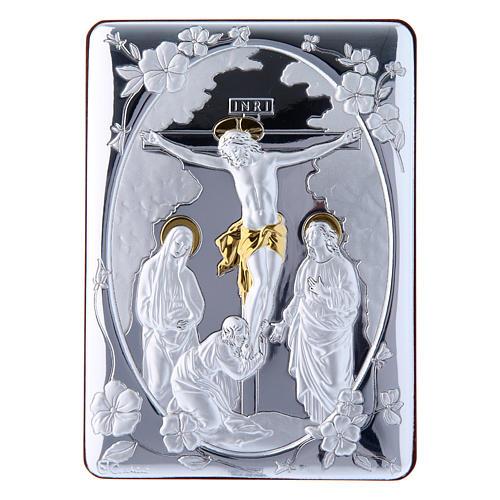 Cuadro Crucifixión detalles oro bilaminado parte posterior madera preciosa 14x10 cm 1