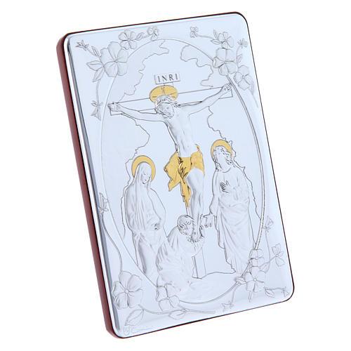 Cuadro Crucifixión detalles oro bilaminado parte posterior madera preciosa 14x10 cm 2