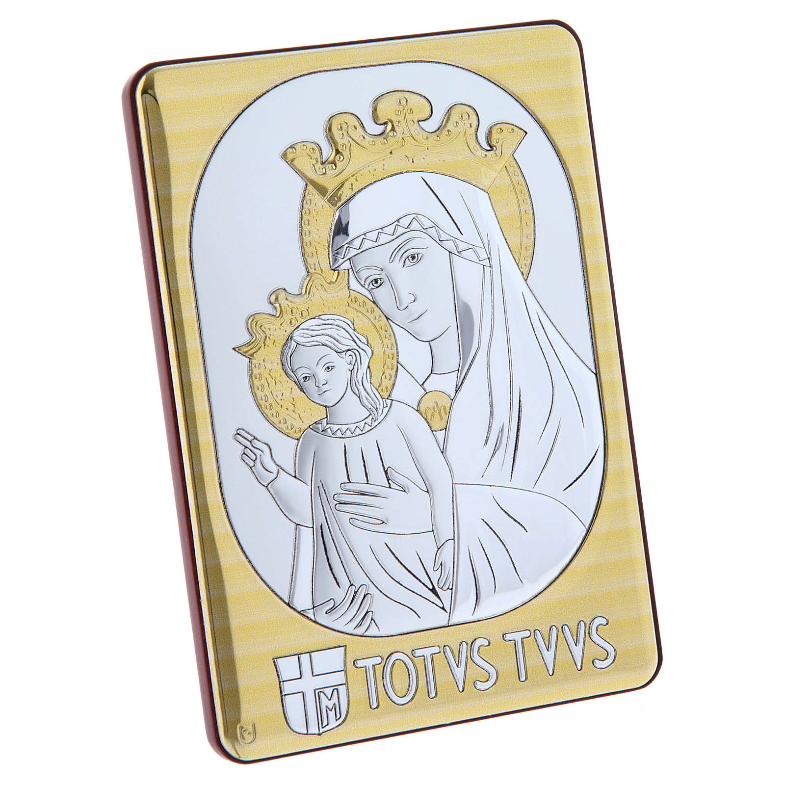 Mater Ecclesiae painting in laminboard finished in gold and refined wooden back 14X10 cm 4