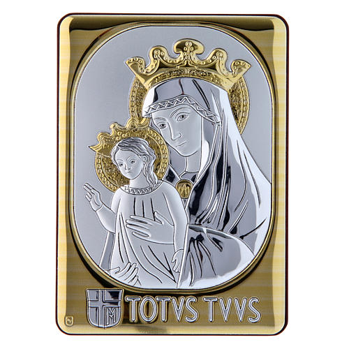 Mater Ecclesiae painting in laminboard finished in gold and refined wooden back 14X10 cm 1