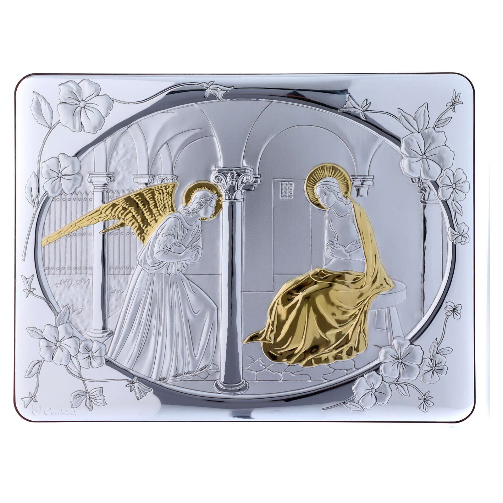 Annunciation painting in laminboard finished in gold and refined wooden back 33X25 cm 4