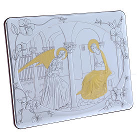 Annunciation painting in laminboard finished in gold and refined wooden back 33X25 cm s2