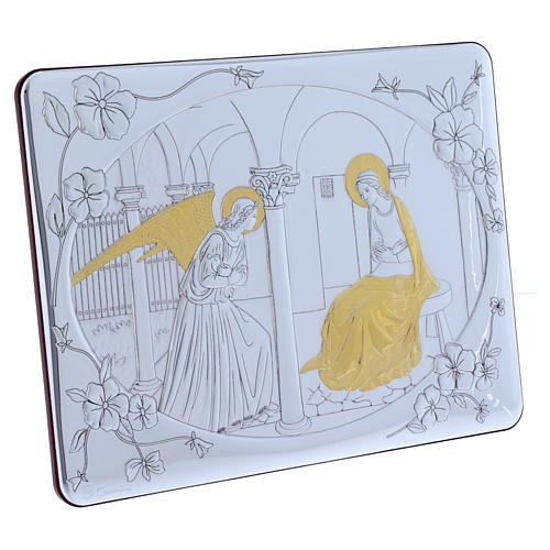 Annunciation painting in laminboard finished in gold and refined wooden back 33X25 cm 2