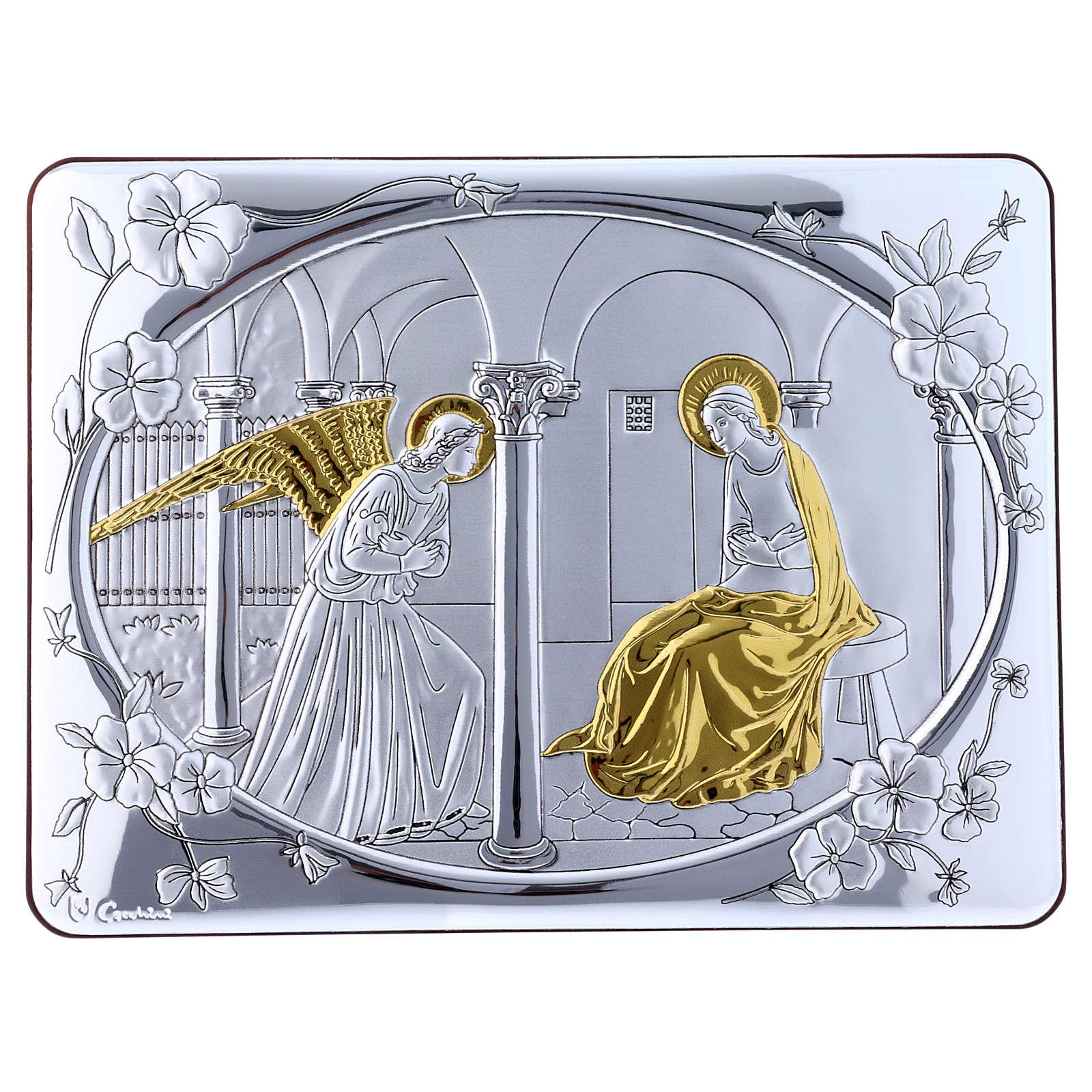 Quadro bilaminato retro legno pregiato rifiniture oro Annunciazione 16,3X21,6 cm 4