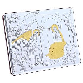 Quadro bilaminato retro legno pregiato rifiniture oro Annunciazione 16,3X21,6 cm s2