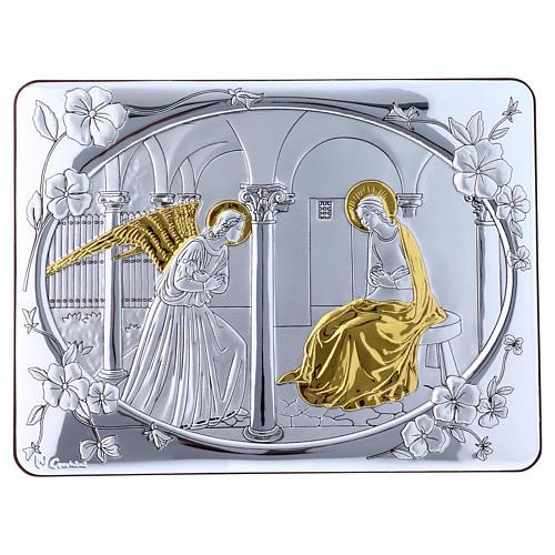 Quadro bilaminato retro legno pregiato rifiniture oro Annunciazione 16,3X21,6 cm 1