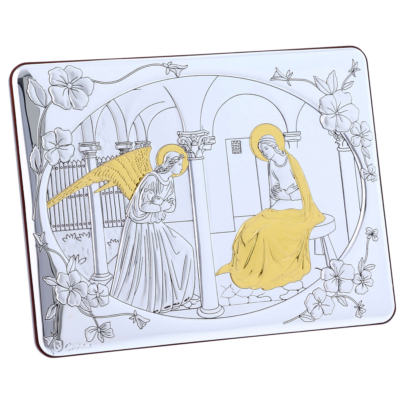 Annunciation painting in laminboard finished in gold and refined wooden back 16,3X21,6 cm 4