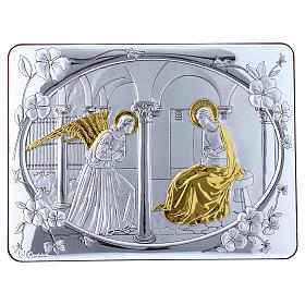 Annunciation painting in laminboard finished in gold and refined wooden back 16,3X21,6 cm s1